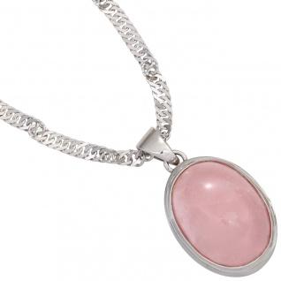 Anhänger oval 925 Sterling Silber rhodiniert 1 Rosenquarz Cabochon rosa