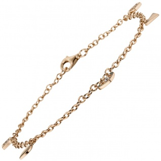 Armband 925 Sterling Silber rotgold vergoldet 3 Zirkonia 19 cm