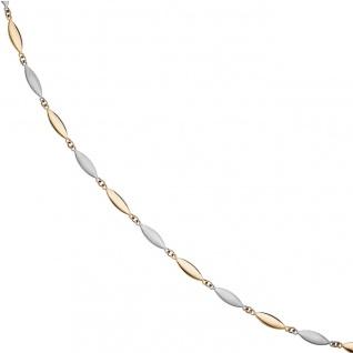 Halskette Kette 585 Gold Gelbgold Weißgold bicolor matt 45 cm Goldkette