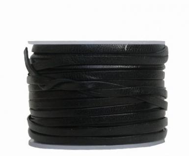 Ziegenleder Lederriemen, Lederband flach schwarz, Länge 25 m, Breite ca. 3 mm, Stärke ca. 1, 0 mm