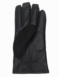 Herren Fingerhandschuhe Lammfell schwarz, Velourleder und Glattleder, Größe 8 - Vorschau 2