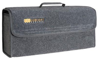 große Kofferraum Auto KFZ Tasche grau mit Klettverschluss+Druckknöpfen 29x50x14 cm, Werkzeugtasche, Auto Organizer