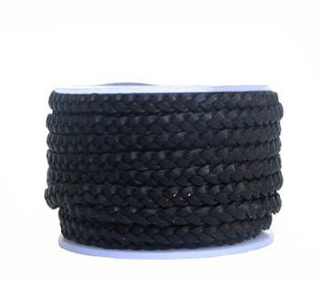 Rindleder Flechtband flach geflochten black, für Leder Armbänder, Lederketten, Länge 10 m, Breite ca. 4 mm, Stärke ca. 2 mm