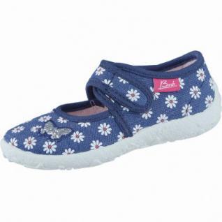 Beck Blümchen Mädchen Textil Hausschuhe dunkelblau, anatomisches Fußbett, 3838101