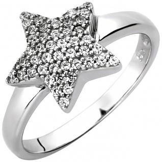 modischer Damen Ring Stern 925er Sterling Silber mit 45 Zirkonias, ca. 11, 1 m...