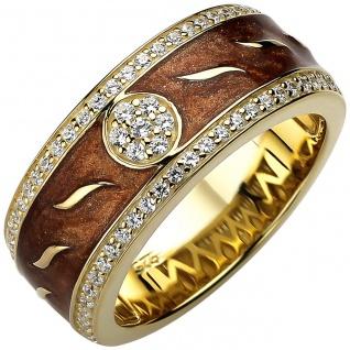 Damen Ring 925er Sterling Silber gold vergoldet mit 67 Zirkonias, Emaille Ein...