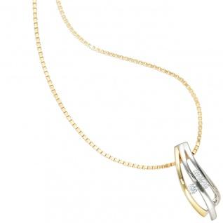 Anhänger 925 Sterling Silber rhodiniert bicolor vergoldet 4 Zirkonia