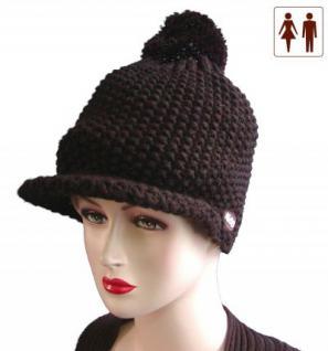 Damen und Herren Woll Strickmütze mit Bommel und Schirm dunkelbraun, Wintermütze