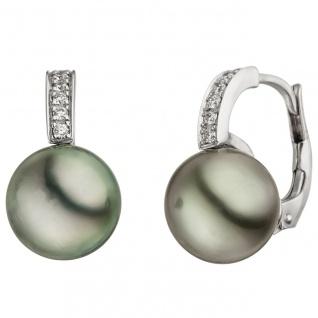 Ohrhänger 585 Gold Weißgold 12 Diamanten Brillanten 2 Tahiti Perlen Ohrringe