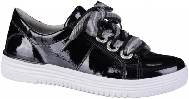 JANA Damen Lack Sneakers black, Extra Weite H, Jana Comfort Fußbett