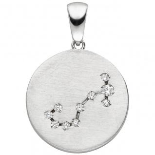 Anhänger Sternzeichen Skorpion 925 Sterling Silber matt 10 Zirkonia Silberan