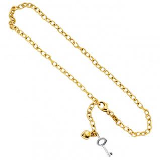 Fußkettchen Fußkette 585 Gold Gelbgold Weißgold bicolor 26 cm Karabiner