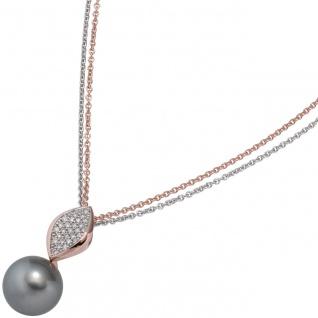 Anhänger 585 Rotgold 27 Diamanten Brillanten 1 Tahiti Perle Perlenanhänger