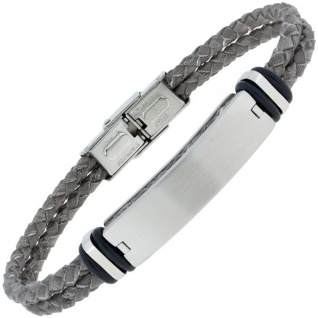 Armband Leder grau geflochten mit Edelstahl matt 21 cm
