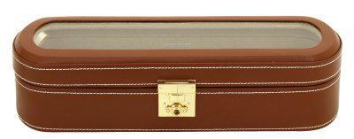 Friedrich Lederwaren exklusiver Leder Uhrenkasten für 5 Uhren braun, Serie Cordoba, ca. 33x10, 7x8, 5 cm