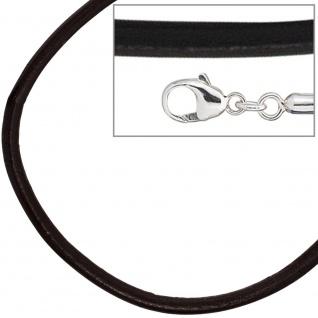 Leder Halskette Kette Schnur schwarz 70 cm, Karabiner 925 Sterling Silber