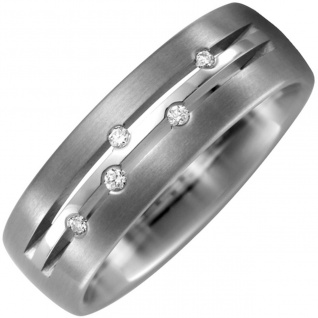 Partner Ring Titan teil matt 5 Diamanten Brillanten 0, 05ct. Partnerring