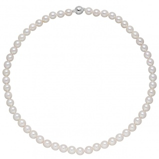 Kette mit Akoya Perlen und 925 Sterling Silber 43 cm Perlenkette Halskette