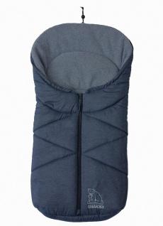 molliger Baby Winter Fleece Fußsack blau meliert, für Tragschalen, Autositze,...
