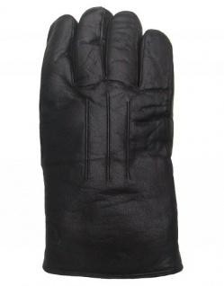 Damen Ziegenleder Fingerhandschuhe mit Lammfell schwarz, Größe 7