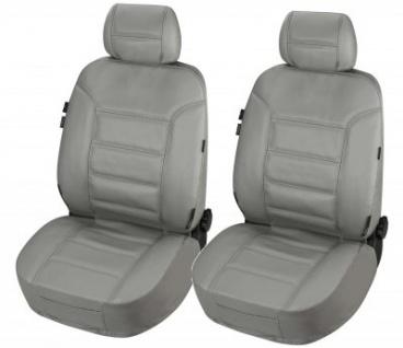 ZIPP IT 2 Stück Universal Echt Leder Auto Sitzbezüge grau, RV System, Leder Auto Schonbezug