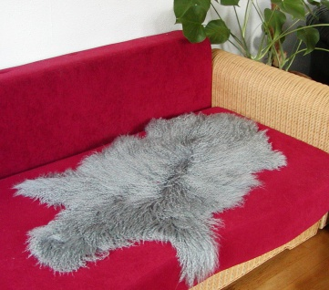 wuschelige Tibetlammfelle grau gefärbt, Haarlänge ca. 13 cm, fein gelocktes H...