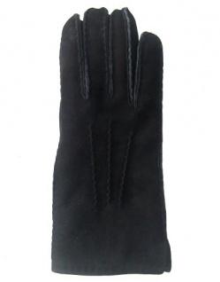 Fingerhandschuhe Lammfell, Herren Fellhandschuhe schwarz, Größe 9