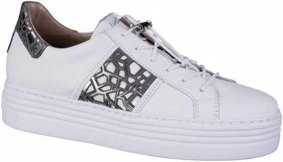 MJUS Damen Leder Sneakers bianco, Lederfutter, softes Leder Fußbett