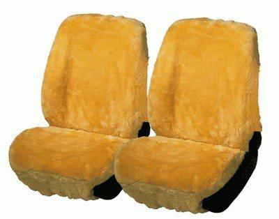 2 Stück Universal Autositzfelle beige für alle PKW, zum kompletten überspannen, Merino Lammfell Sitzbezug mit Kunstpelz