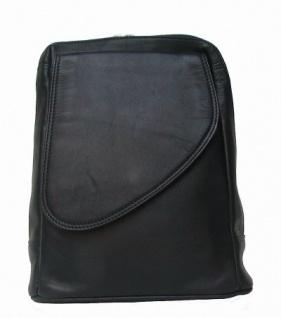 AIRFIELD raffinierter Damen Leder Stadtrucksack schwarz, 8 Fächer, 3 Innenfächer, key-holder, 25x30x9 cm