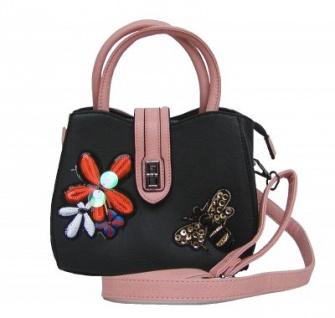 Angel kiss FLOWER kleine freche Handtasche mit Glitzer schwarz/rosa, Fashion Strap INKA Design, 22x18x10 cm