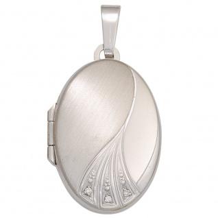 Medaillon oval 375 Gold Weißgold mattiert 3 Zirkonia Anhänger zum Öffnen - Vorschau 1