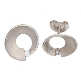 Ohrstecker 585 Gold Weißgold matt 2 Diamanten Brillanten 0, 07ct. Ohrringe