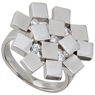 Damen Ring 925 Sterling Silber rhodiniert mattiert 5 Zirkonia Silberring
