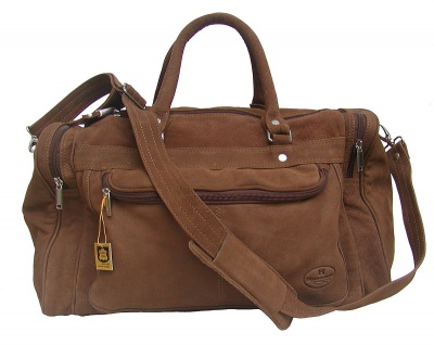 geräumige Wasserbüffel Leder Reisetasche braun mit Seitentaschen, ca. 49x31 cm