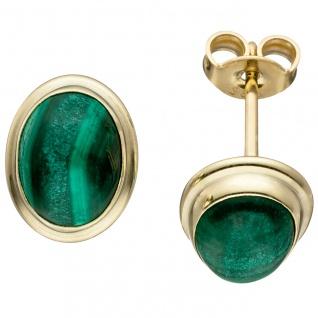 Ohrstecker oval 585 Gold Gelbgold 2 Malachite grün Ohrringe Goldohrringe