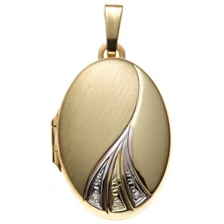 Medaillon oval für 2 Fotos 333 Gold Gelbgold bicolor mit Zirkonia