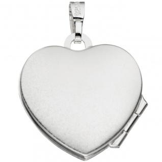 Medaillon Herz für 2 Fotos Herz 925 Sterling Silber eismatt Anhänger zum Öffnen - Vorschau 3