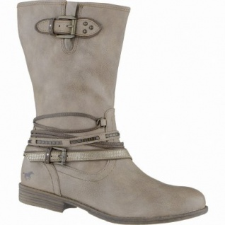Mustang coole Damen Synthetik Stiefel taupe, Warmfutter, weiche Decksohle, 1639114/38