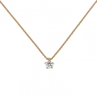 Collier Kette mit Anhänger 585 Gold Rotgold 1 Diamant Brillant 0, 15 ct. 45 cm