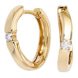 Creolen 585 Gold Gelbgold 2 Diamanten Brillanten 0, 08ct. Ohrringe Goldcreolen