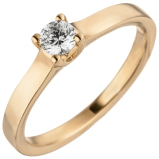 Damen Ring 585 Gold Rotgold 1 Diamant Brillant 0, 25 ct. Diamantring Solitär
