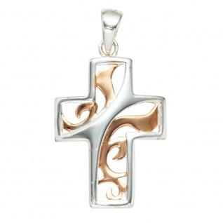 Anhänger Kreuz 925 Sterling Silber bicolor vergoldet Kreuzanhänger