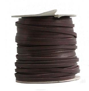 Lederflechtband Känguruleder braun, Länge 50 m, Breite ca. 3 mm, Stärke ca. 1...