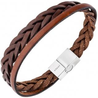 Herren Armband 2-reihig Leder braun geflochten mit Edelstahl 21 cm Herrenarmband