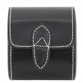 Friedrich Lederwaren Leder Uhrenrolle für 1 Uhr schwarz, Serie London, ca. 8, 5x7x9, 5 cm