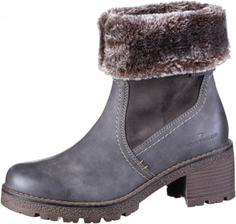 TOM TAILOR Damen Leder Imitat Boots coal, molliges Warmfutter, Tex Ausstattung