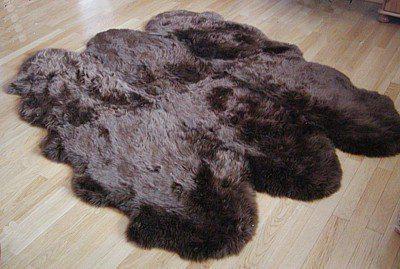 Fellteppiche braun gefärbt aus 6 Lammfellen, Größe ca. 185 x 180 cm, 30 Grad waschbar