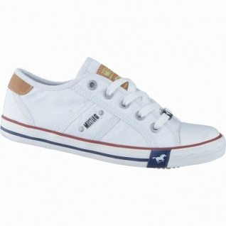 Mustang coole Mädchen Canvas Sneakers Low weiß, Mustang-Laufsohle, 3338118/32