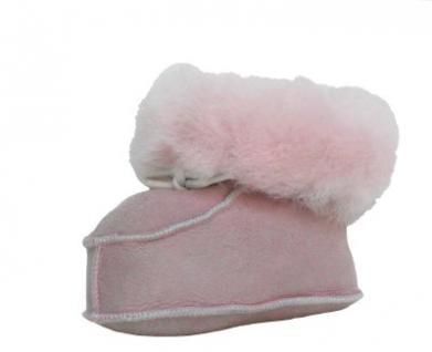 warme Lammfell Babyschuhe rosa mit Fellkragen und Kordel, Gerbung ohne schädliche Stoffe, Gr. 22-23 - Vorschau 2